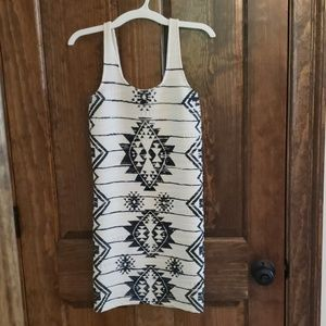 White tribal bodycon dress